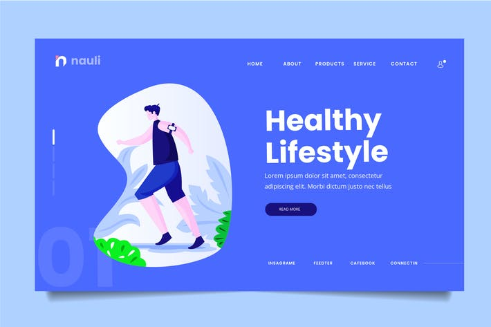 Thumbnail for Healthy Lifestyle Web Header PSD and AI Vector