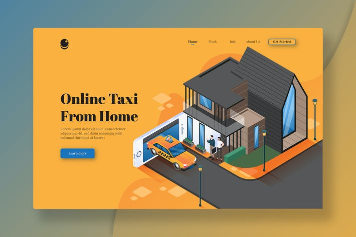 Thumbnail for Online Taxi From Home - Isometric landing Page