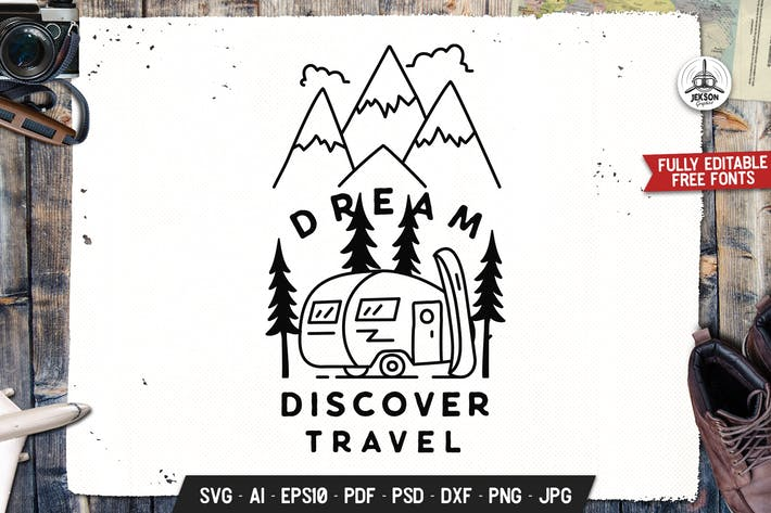 Dream Travel Badge. Adventure Vector Emblem Design