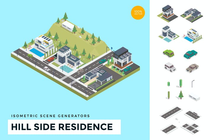 Thumbnail for Isometric Hill Side Residence Vector Scene Creator