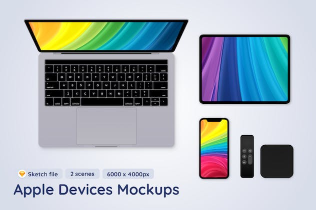 Apple Mobile Devices top view - 2 Sketch Mockups