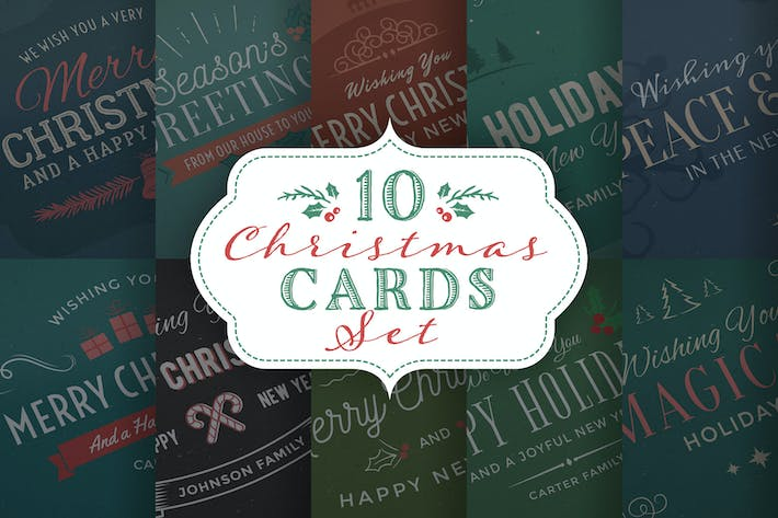 Thumbnail for 10 Christmas Cards/Backgrounds Set
