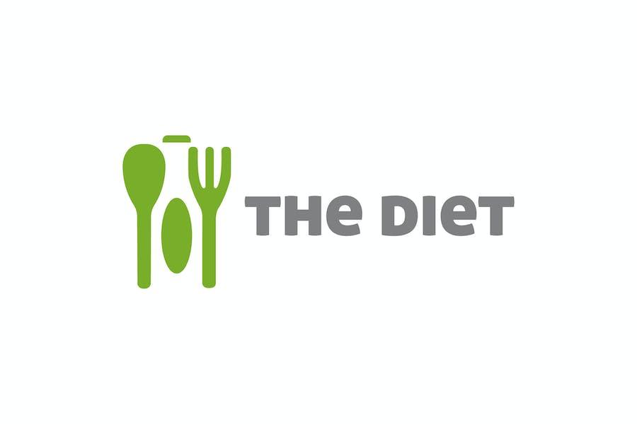 Modern Healthy Diet Negative Space Logo
