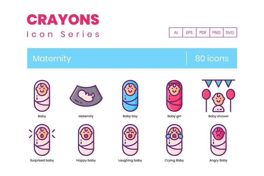 80 Baby-Maternity Icons - Crayons Series