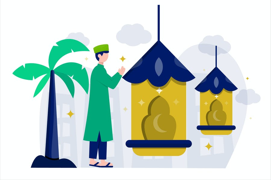 Ramadan Mubarak Flat Vector Illustration