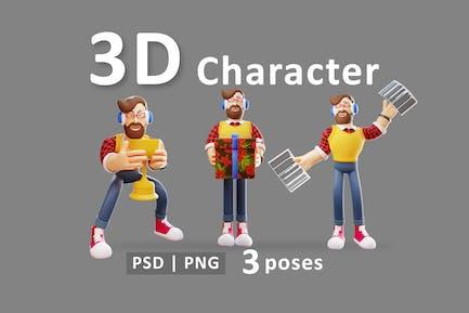 Hombre - Carácter Divertido 3D Con Diferentes Acciones