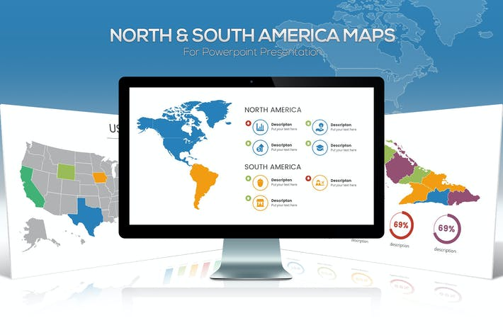 Thumbnail for North & South America Maps for Powerpoint