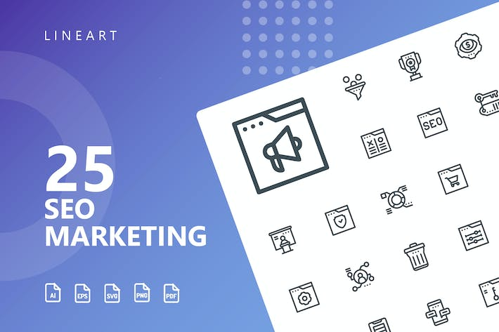 Thumbnail for SEO Marketing Line Icons