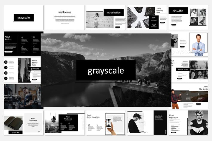 Thumbnail for Grayscale Powerpoint Template