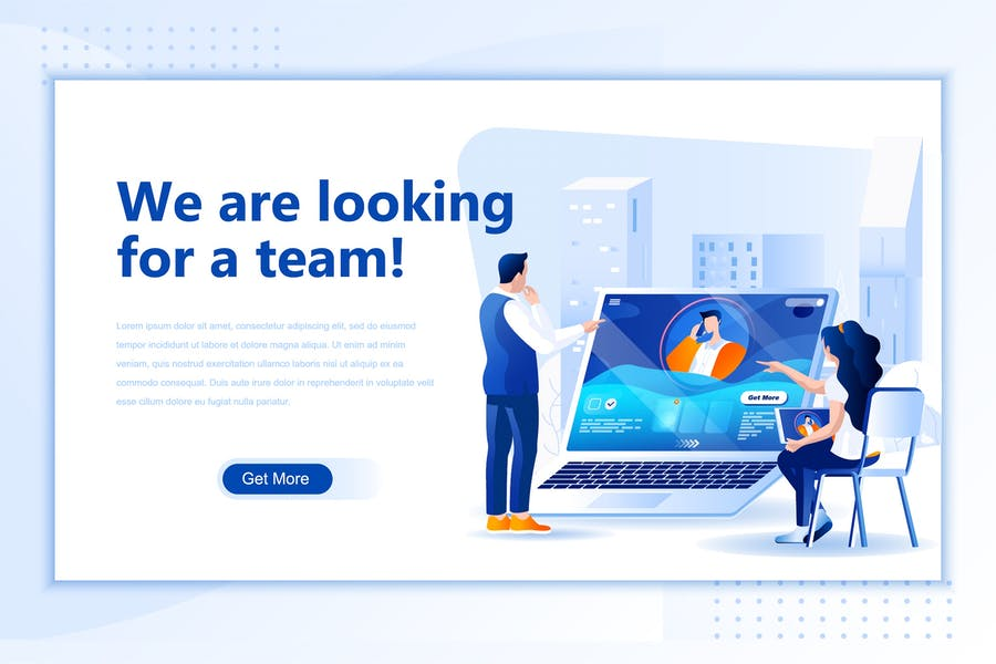 Looking Team Flat Landing Page Header