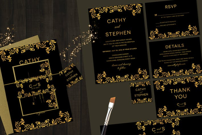 Thumbnail for Elegant Gold Wedding Invitation