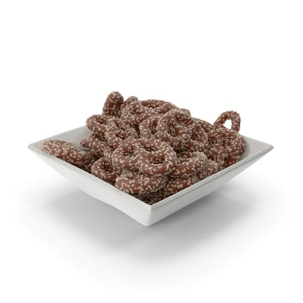 Square Bowl with Chocolate Covered Pretzels with Sesame