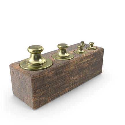 Antike Waage Gewichte in Holzkiste