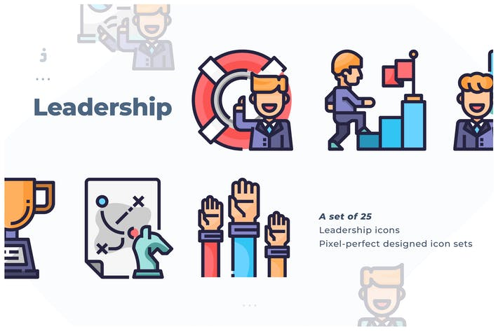 Thumbnail for 25 Leadership Icon-Set
