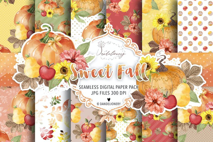Thumbnail for Sweet Fall Pumpkin digital paper pack