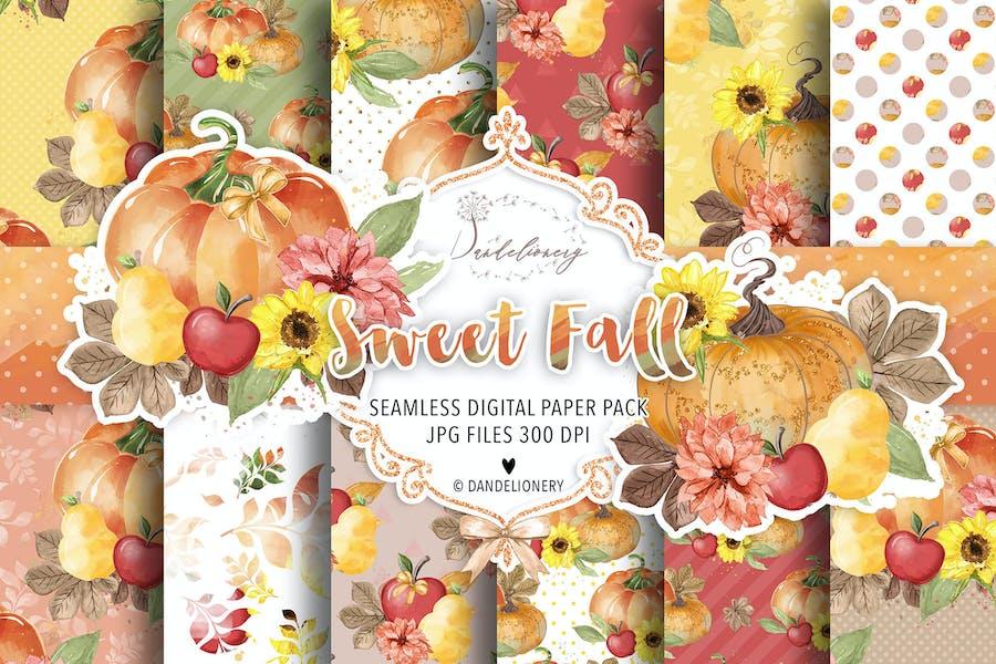 Sweet Fall Pumpkin digital paper pack