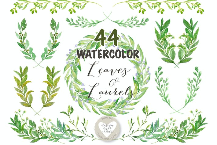 Thumbnail for Watercolor Leaves, Laurel and Wreath clip art