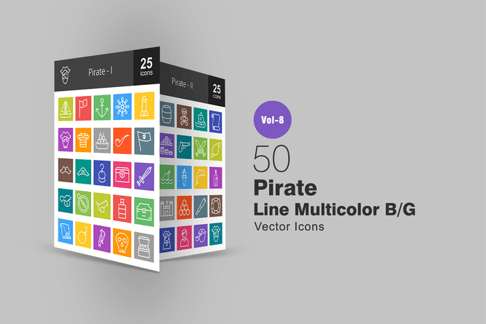Thumbnail for 50 Pirate Line Multicolor B/G Icons