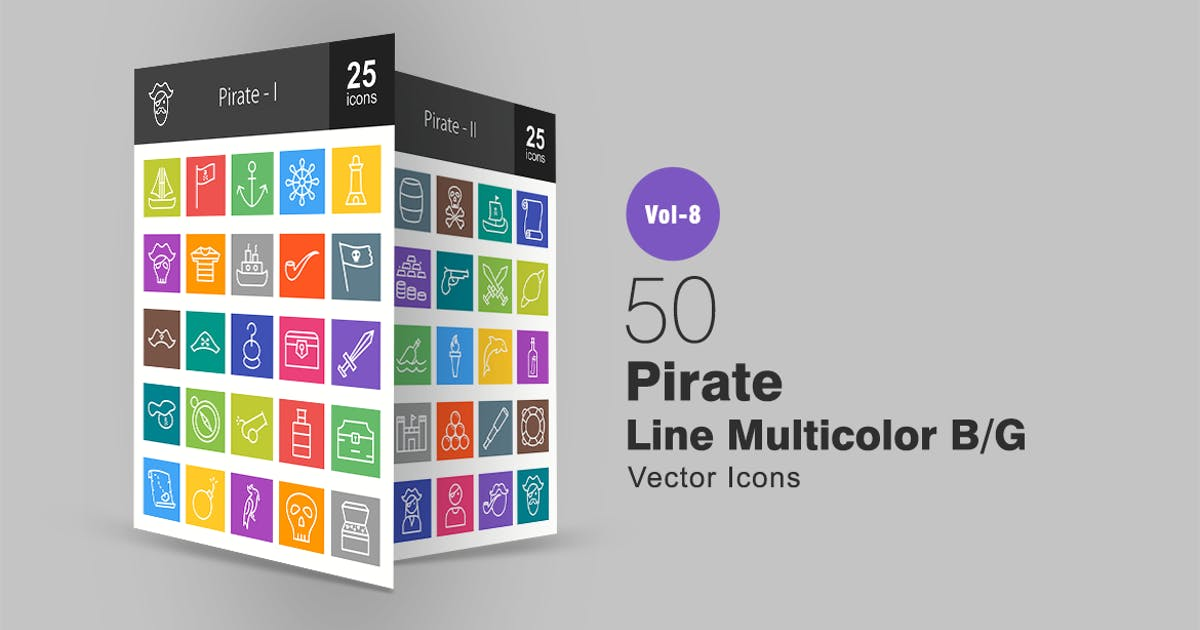 Download 50 Pirate Line Multicolor B/G Icons by IconBunny