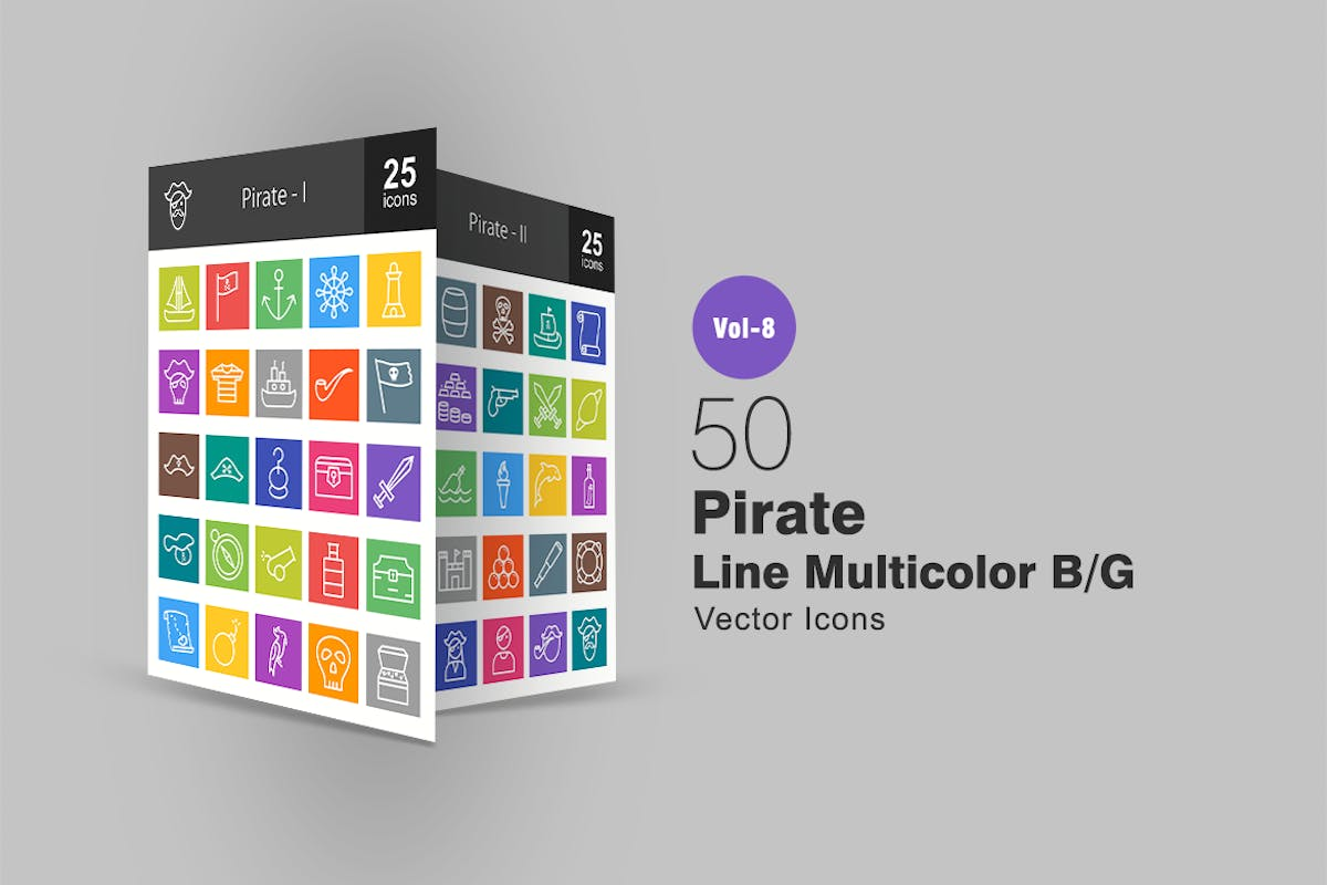 Download 50 Pirate Line Multicolor B/G Icons by IconBunny by Unknow