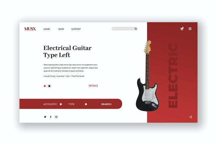 Thumbnail for Guitar Music Hero Header PSD Template