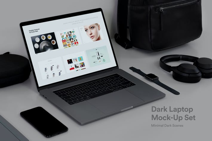 Thumbnail for Psd Macbook Touch-Bar Mock-Up Dark