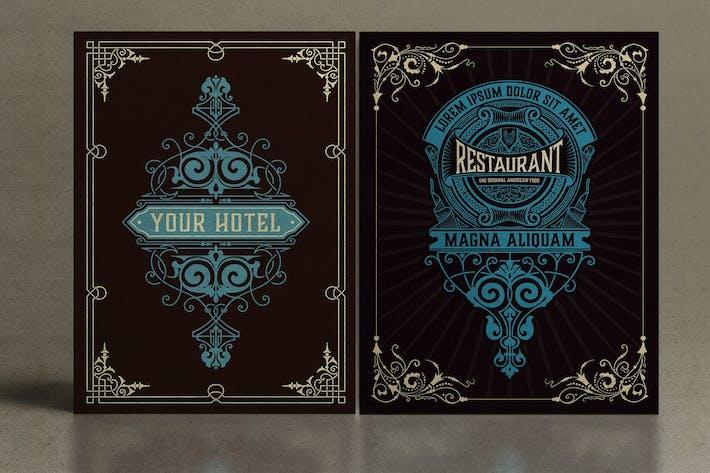 Set mit 2 Vintage-Karten zum Verpacken