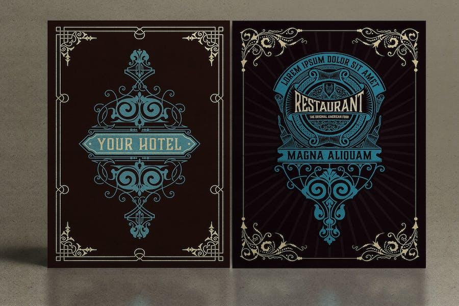 Set of 2 vintage cards for packing