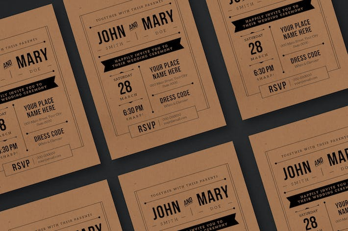 Thumbnail for Kraft Paper Wedding Invitation
