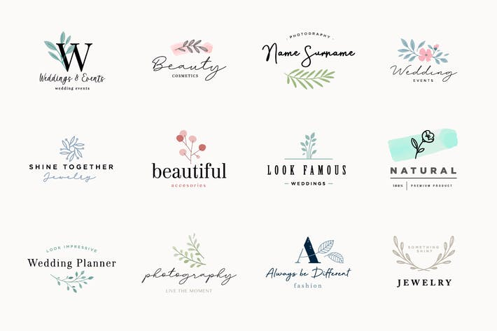 Thumbnail for Set of elegant and luxury signs for beauty