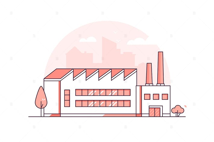 Thumbnail for Industrial building - line design illustration