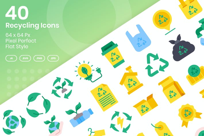 Thumbnail for 40 Recycling Icons Set - Flat