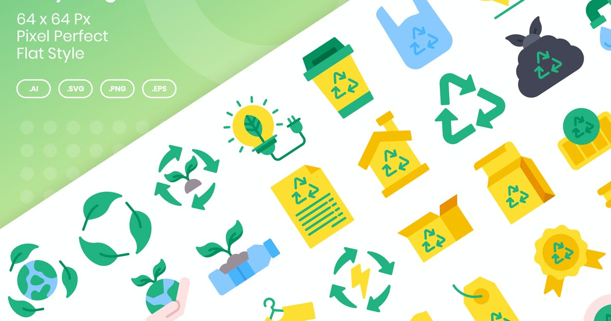 Download 40 Recycling Icons Set - Flat by kmgdesignid