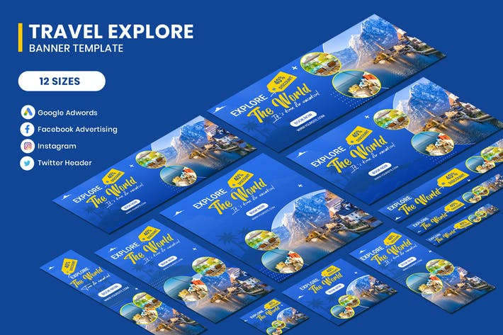 Thumbnail for Travel Google Adwords Banner Template
