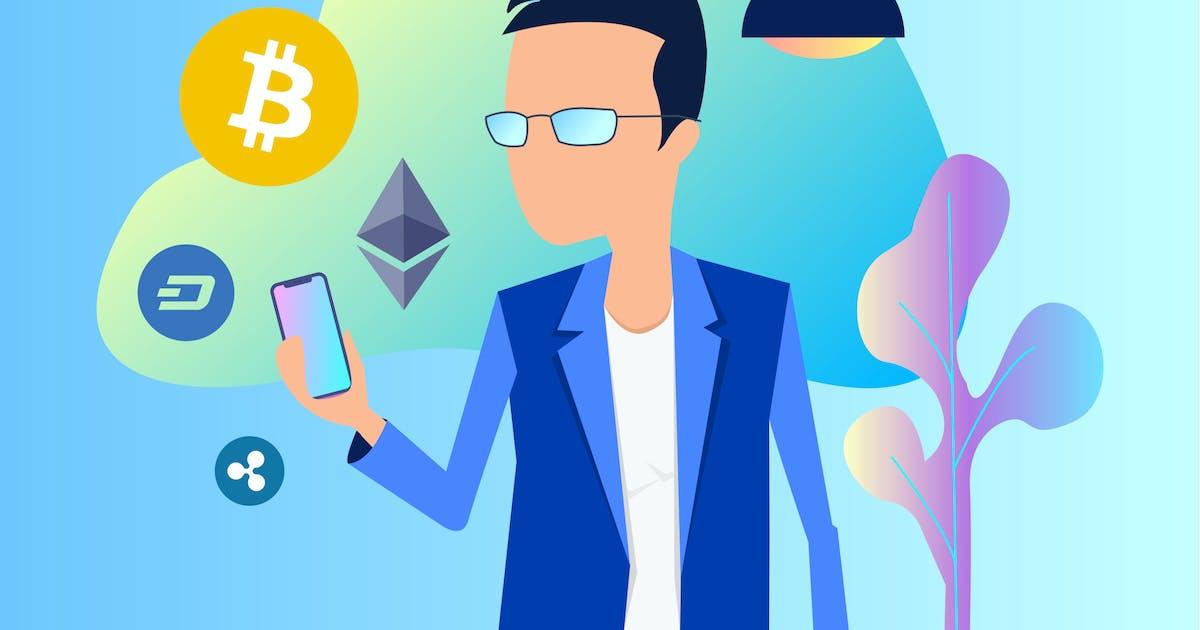 Download Smart Service Blockchain 2D Illustration by angelbi88