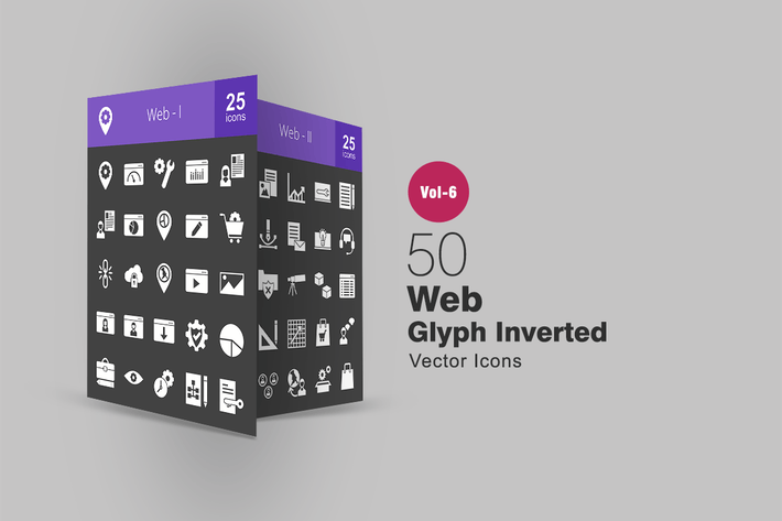 Thumbnail for 50 Web Glyph Inverted Icons
