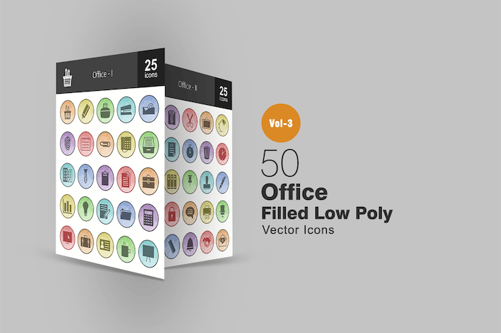 Thumbnail for 50 Office Filled Low Poly Icons