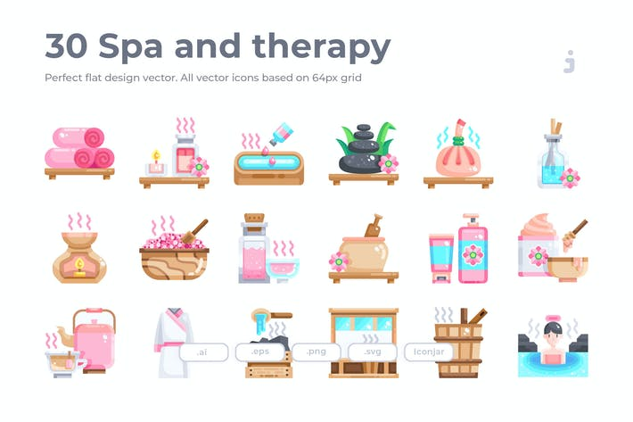 Thumbnail for 30 Spa and therapy Icons - Flat