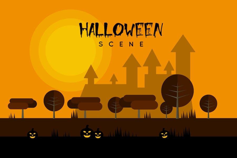 Сцена Хэллоуина - Иллюстрация фон