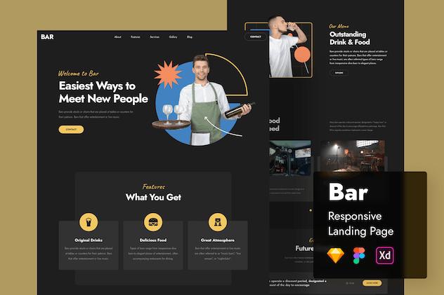 Bar Responsive Landing Page