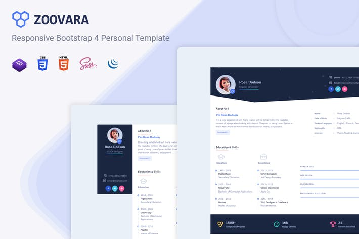 Thumbnail for Zoovara - Personal Resume / CV Template