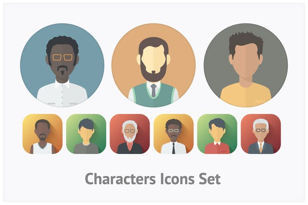 Flat Characters Icons Set - product preview 0