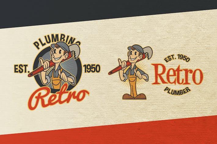 Thumbnail for Retro Vintage Cartoon Plumber Mascot Logo