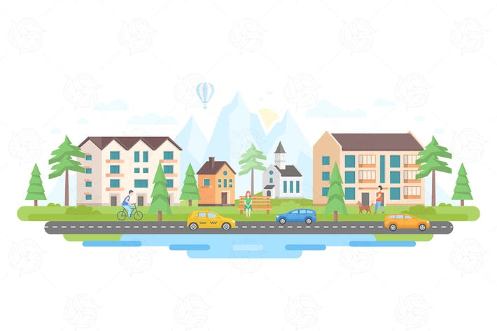 Thumbnail for City by the mountains - flat design illustration