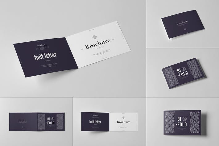 Thumbnail for Bi-Fold Half Letter Horizontal Brochure Mock-up