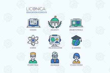 Íconos de Diseño de línea delgada de la escuela Moderno y la Educación