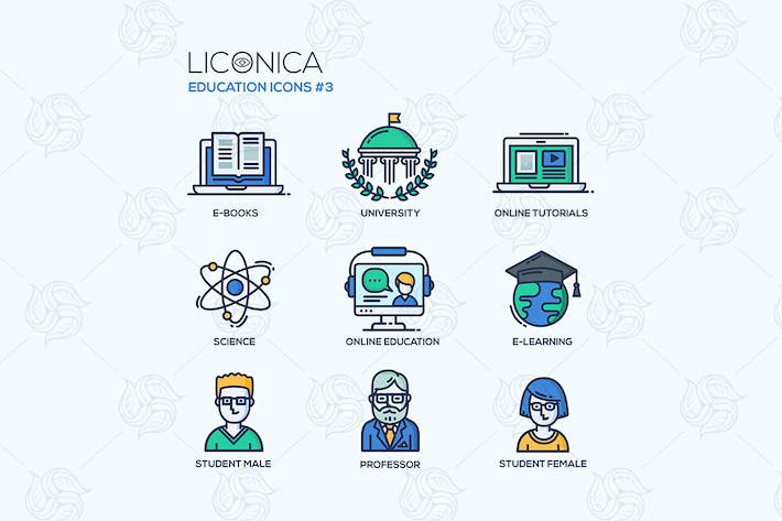 Thumbnail for Modern school and education thin line design icons