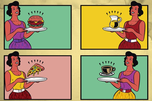Retro Fast Food Waitress Illustration