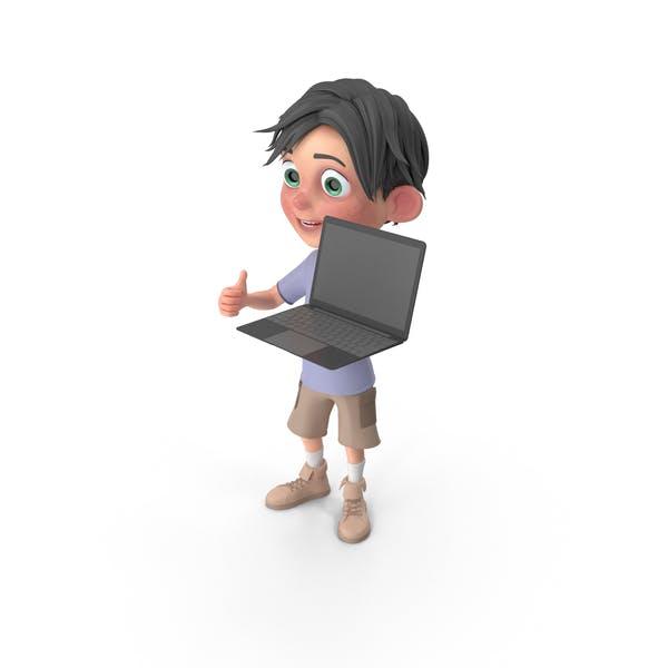 Cartoon Boy Jack Holding Laptop