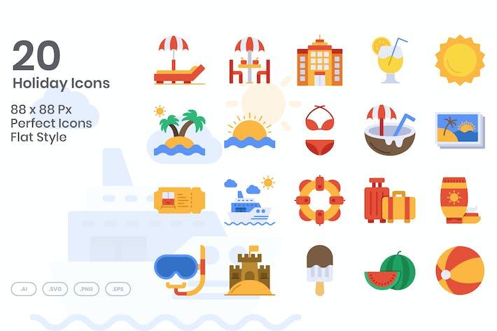 Thumbnail for 20 Holiday Icons Set - Flat